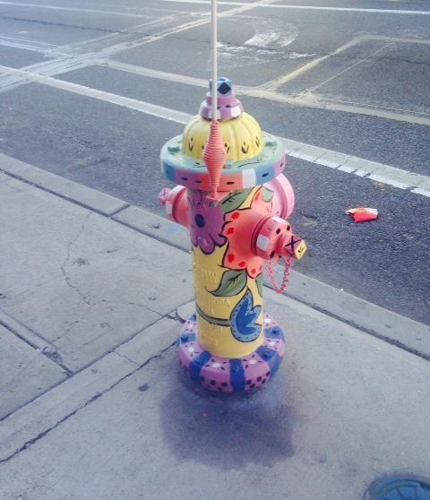 This flowery fireplug by Massapequa muralist Arlene McLoughlin