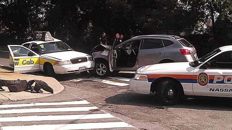 Police at the scene of a crash between