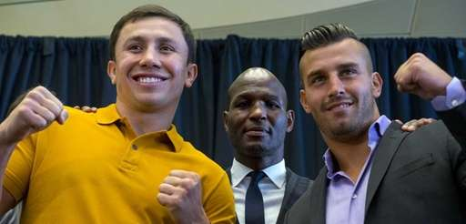 Middleweight boxers Gennady Golovkin, left, of Kazakhstan, and