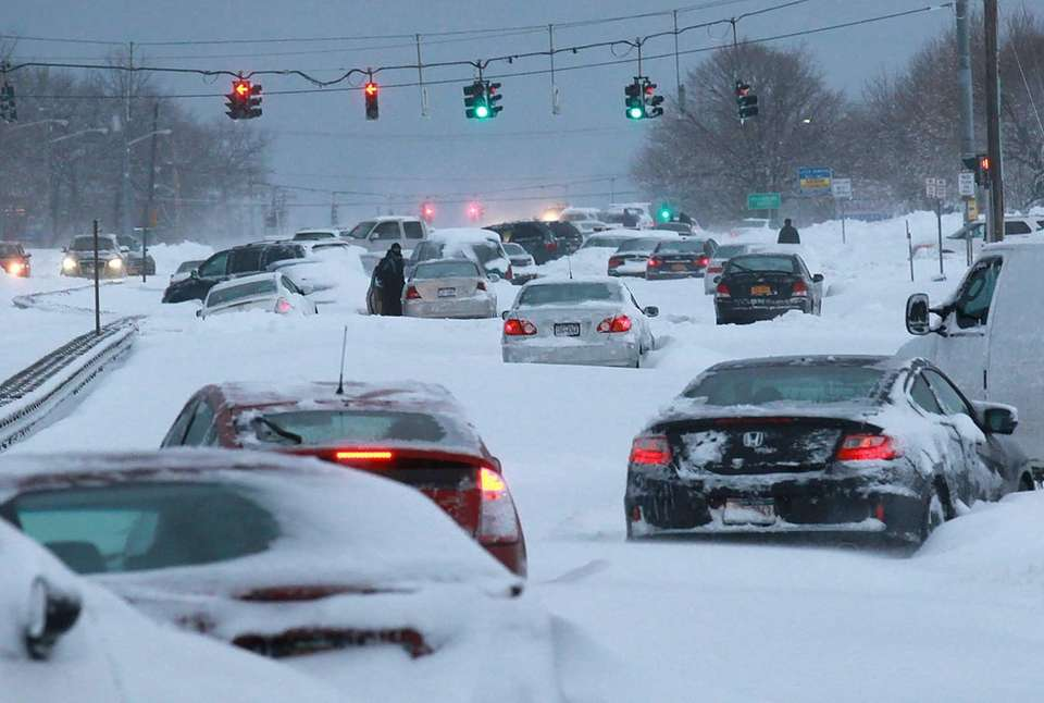 Snowbound vehicles remain stranded Saturday morning, Feb. 9,