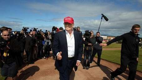 Donald Trump at his Scottish golf course Turnberry