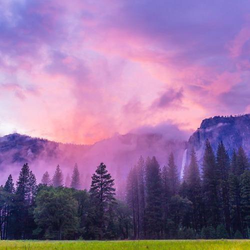 Skies over Yosemite Falls in Yosemite National Park,