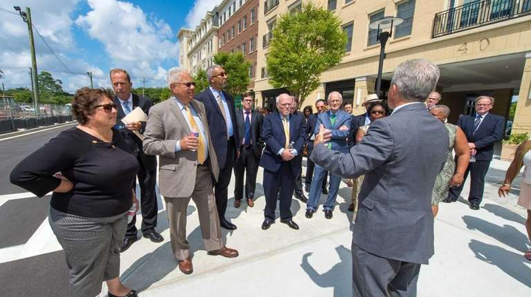 Suffolk County Executive Steve Bellone shows state leaders