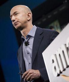 Amazon.com founder and CEO Jeff Bezos presents the