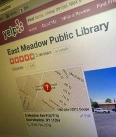 A Yelp review page for the East Meadow