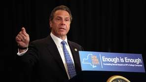 New York Governor Andrew Cuomo speaks at an