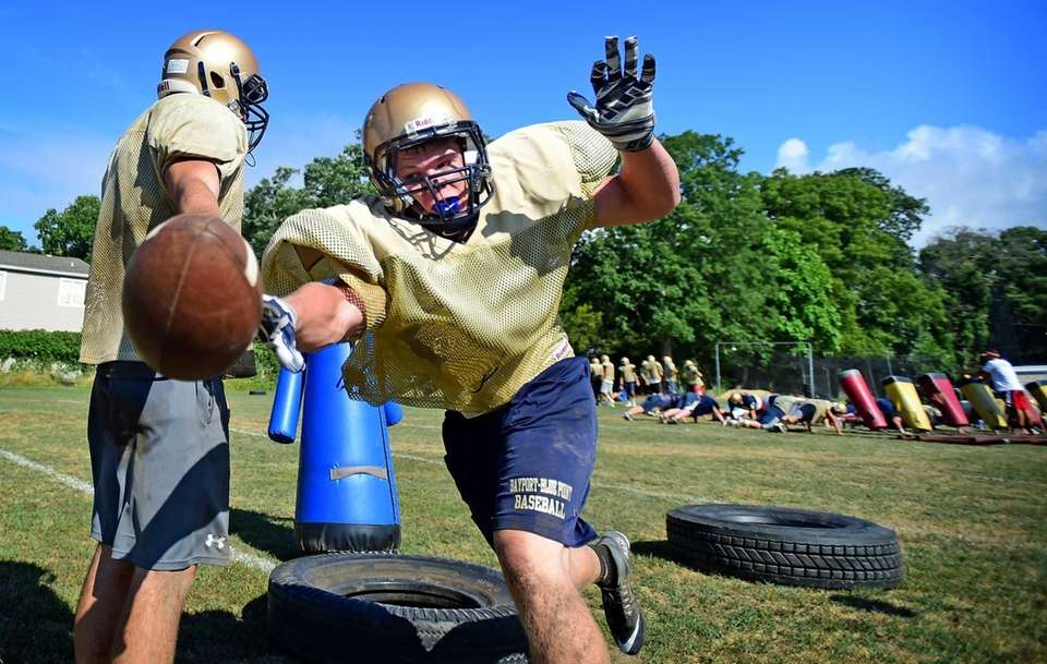 Bayport-Blue Point's Luke Olsson works out with the