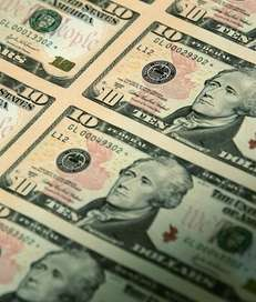 An uncut sheet of the redesigned $10 bill