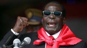 Zimbabwe's President Robert Mugabe speaks during celebrations marking