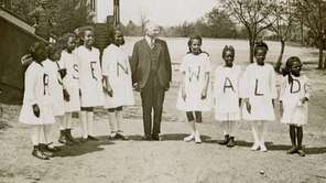 Julius Rosenwald with students from a Rosenwald school.