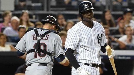 New York Yankees pinch hitter Didi Gregorius reacts