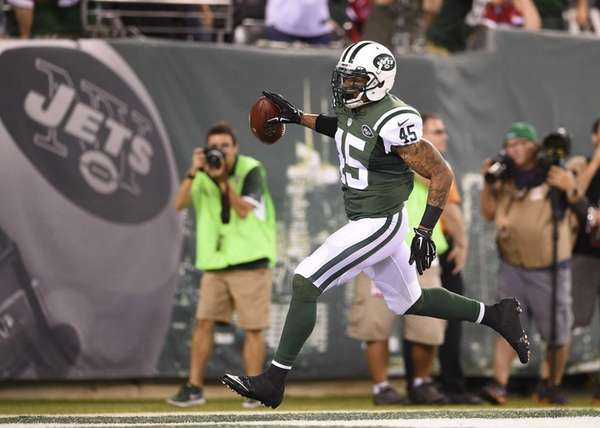 New York Jets defensive back Rontez Miles celebrates