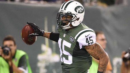 New York Jets defensive back Rontez Miles celebrates