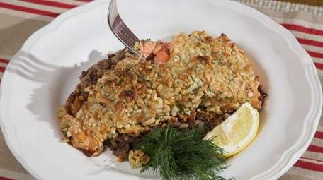 Madeline Basler's almond-encrusted baked salmon. Pistachios or walnuts
