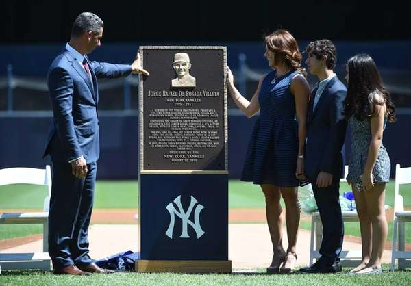 Former New York Yankees catcher Jorge Posada looks