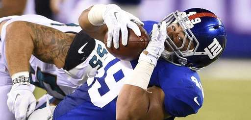 New York Giants fullback Nikita Whitlock is taken