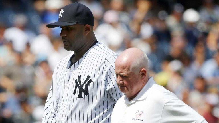 CC Sabathia of the New York Yankees leaves