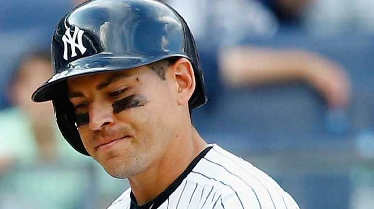 Jacoby Ellsbury of the New York Yankees reacts