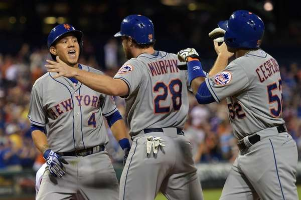 Wilmer Flores of the New York Mets celebrates
