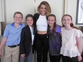 Singer Rachel Platten, center, with Kidsday reporters Eamonn