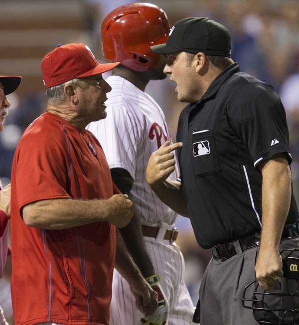 Home plate umpire Dan Bellino ejects Philadelphia Phillies