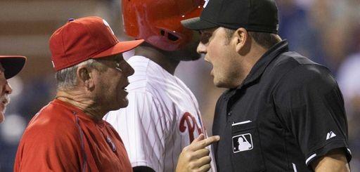 Home plate umpire Dan Bellino ejects Philadelphia Phillies