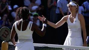 Serena Williams shakes hands with Maria Sharapova after
