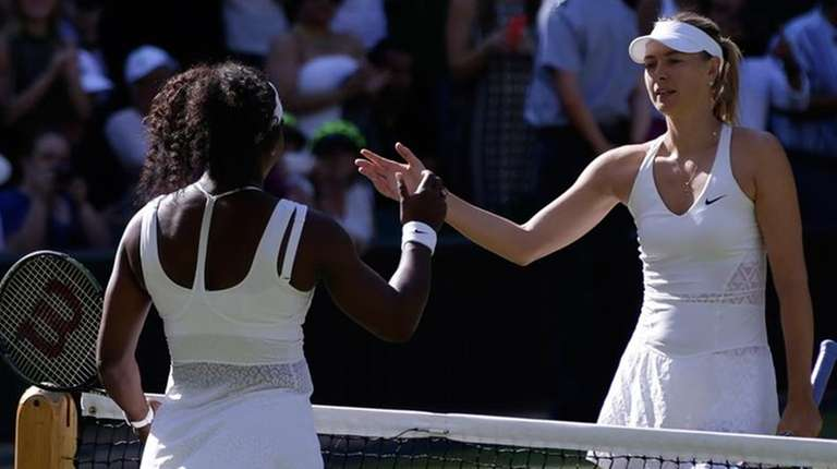 Serena Williams shakes hands with Maria Sharapova after