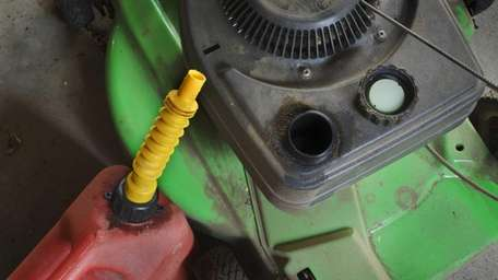 Gas can with Lawn Mower