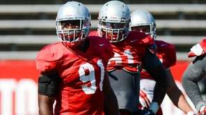 Stony Brook DE Victor Ochi is seen during