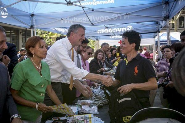 Congesswoman Nydia Velazquez, left, and Mayor Bill de