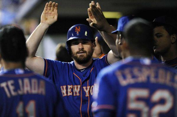 New York Mets' Daniel Murphy celebrates in the