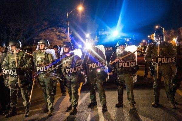Police in Baltimore reacted in April to the