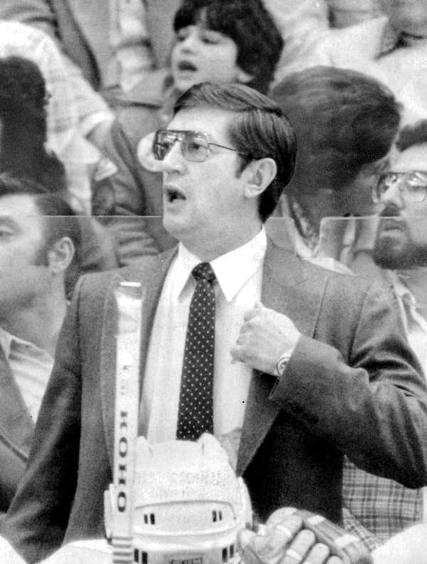 Islanders coach Al Arbour looks during the first