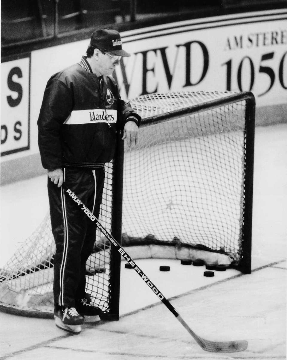 Islanders coach Al Arbour watches his team during