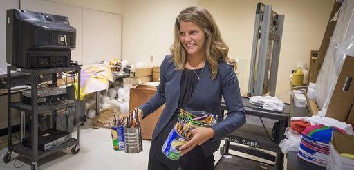 Roosevelt Middle School teacher Ashley Schriefer preparing for