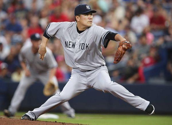 New York Yankees starting pitcher Masahiro Tanaka works