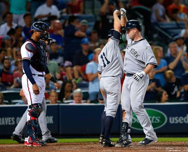 Brian McCann of the New York Yankees reacts
