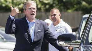Republican presidential candidate Jeb Bush departs from the