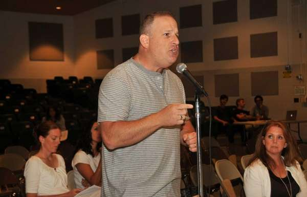 Steve Dombrower of Greenlawn voices his concerns regarding