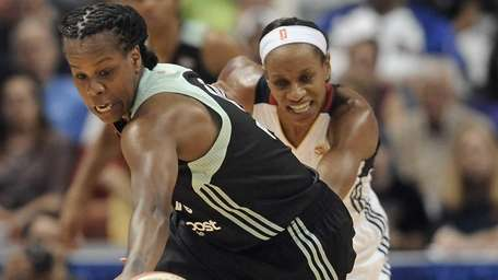 New York Liberty's Epiphanny Prince steals the ball