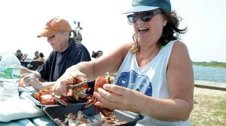 Kathy Pascale of Mastic Beach works on preparing