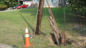 This snapped utility pole was struck by the
