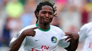 New York Cosmos forward Lucky Mkosana #77 celebrates