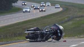 An accident involving a motorcycle heading westbound near