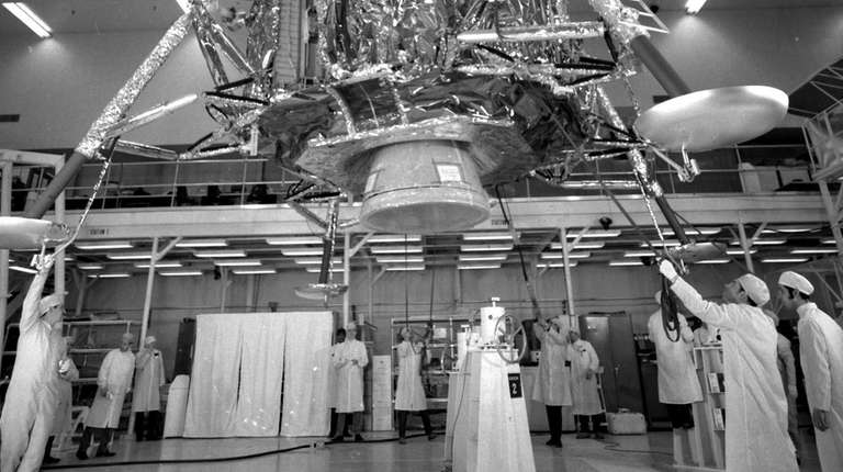 Technicians at Grumman in Bethpage are seen here