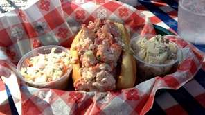 A traditional lobster roll is served at Bostwick's