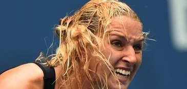 Dominika Cibulkova of Slovakia reacts while playing Ana