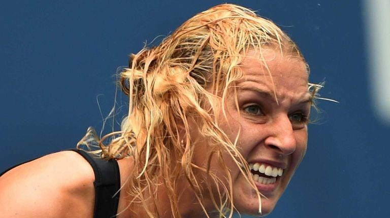 Dominika Cibulkova of Slovakia reacts while playing Ana