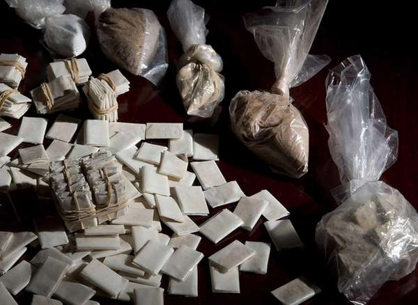 Heroin is shown in many different forms at